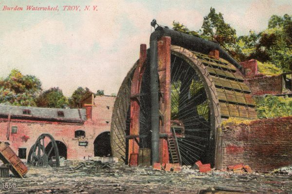 In order to find the necessary power to run his foundry, in 1851 Burden designed and constructed a 60-foot wheel. This was not the largest water wheel of its type, but likely the most powerful. The Burden Water Wheel was sixty-two feet in diameter and twenty-two feet in breath, was supplied by a small stream, the Wynantskill Creek. Burden originated a system of reservoirs along the Wynantskill Creek to hold the water in reserve and increase the water-supply to power the mills.